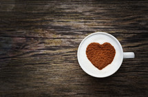 heart shape out of cinnamon in a mug