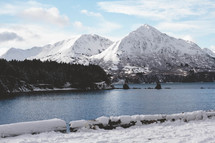 Snow-covered mountains surrounding a lake.