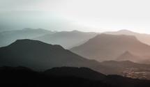 mountain range at sunrise