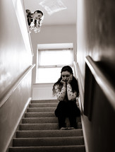 sad, teen, girl, sitting, stairs, stairway, lonely