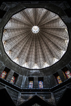 interior of a dome of an ancient church