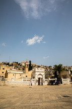 courtyard in front of an ancient church in the holy land