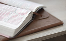 Bible on leather bound journal
