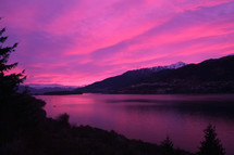 Purple sunset over the Remarkables, New Zealand.