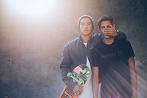 don't speak, protective brother, skateboarders, teens, young men