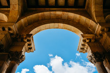 blue sky through an arched ceiling
