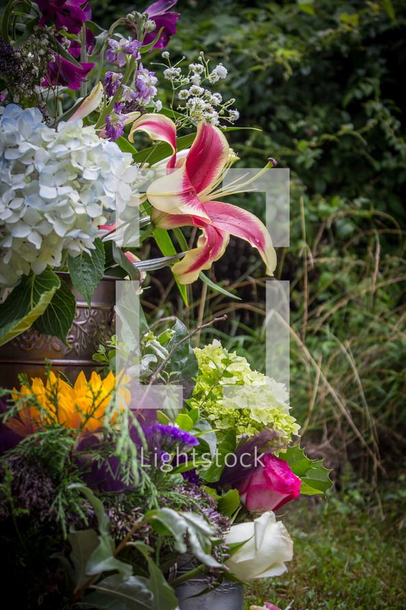 outdoor flower arrangement