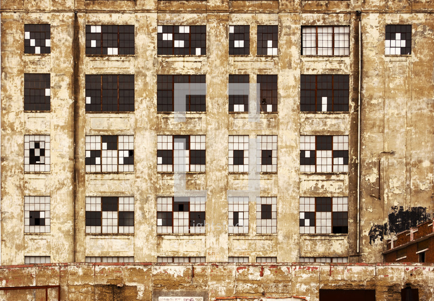 windows in an old deteriorated building