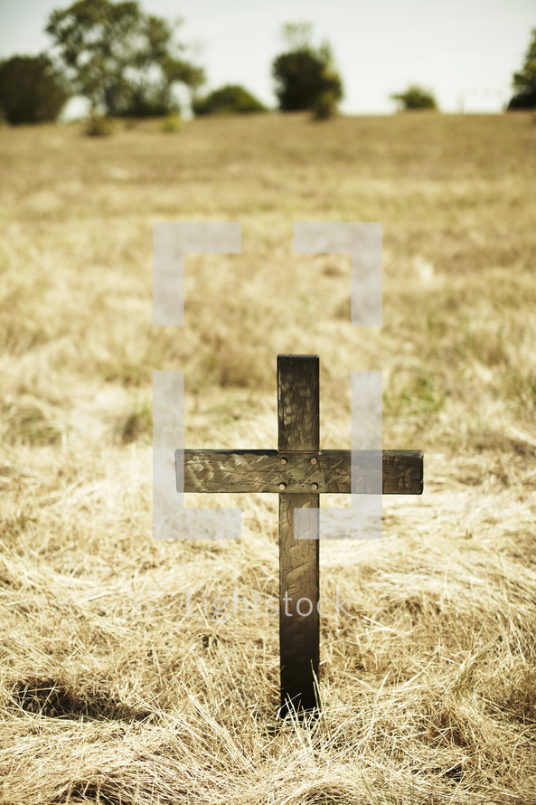 Wooden cross in open grass field
