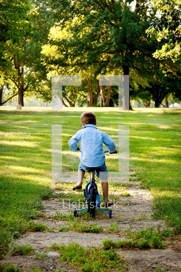 Little boy riding bike in park