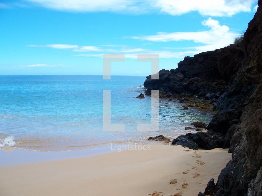 Cliffs overlooking sandy beach