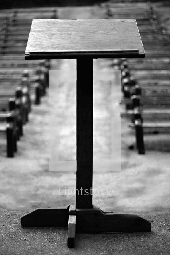 empty podium outdoor pulpit empty seats