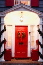 wreath on a red church door