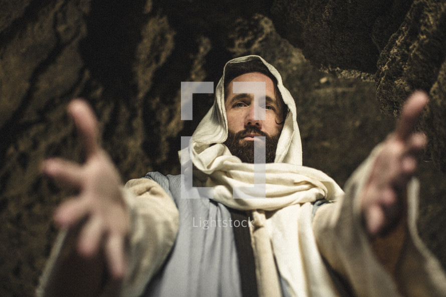 Jesus with outstretched hands