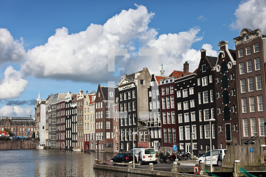 row houses on Amsterdam waterfront