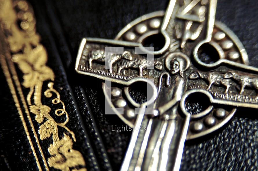A closeup of a metal cross