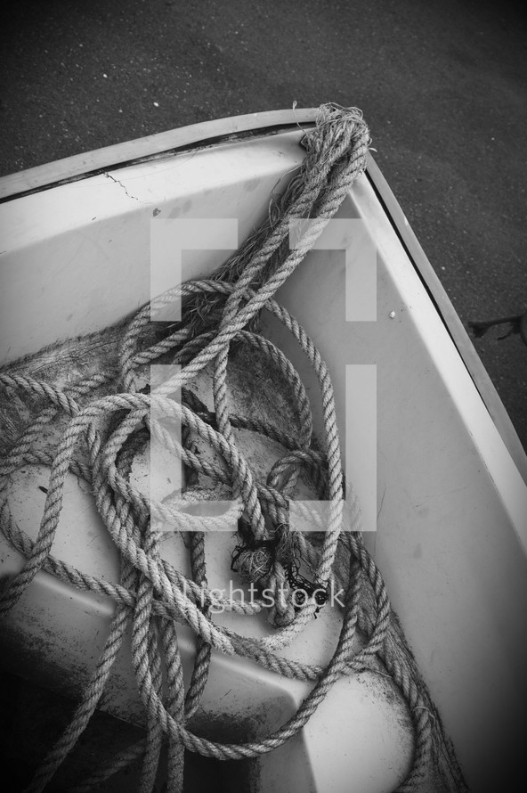 Canoe and rope