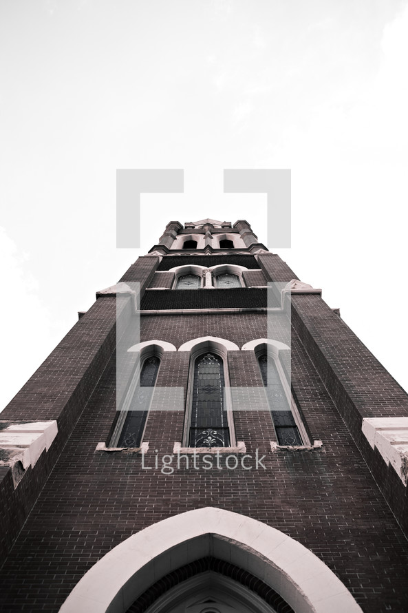 The facade of a beautiful church rises into the sky