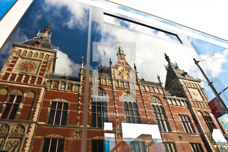 A reflections of Amsterdam Central Station