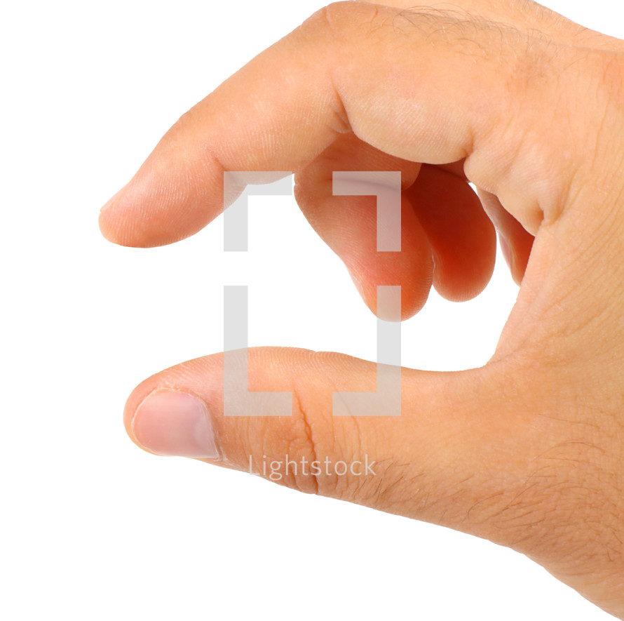 Man hand in little gesture on white isolated background