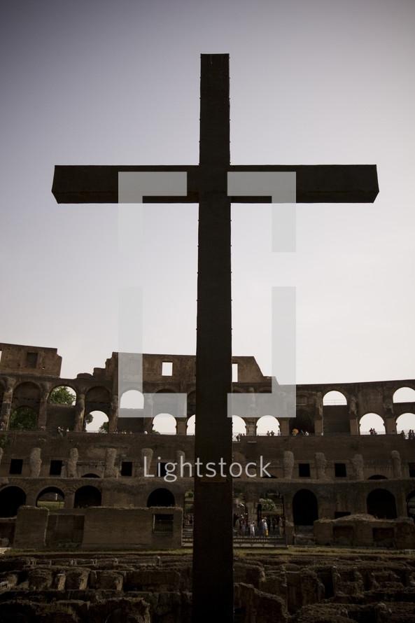 cross in the Coliseum in Rome