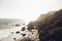 rock formations and sea cliffs along a coastline