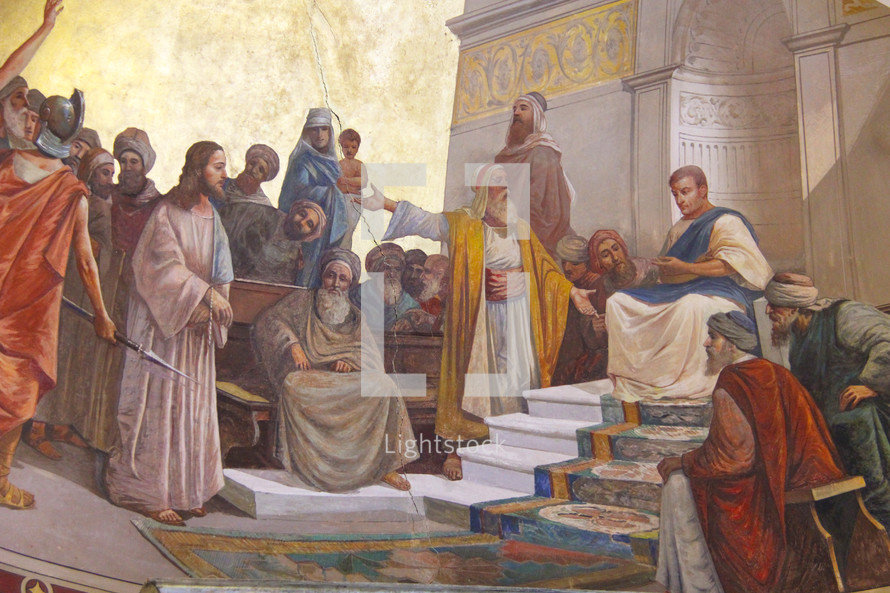 Painting of Jesus being brought before Pontius Pilatus (Pilate)