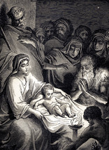 A painting depicting the nativity.