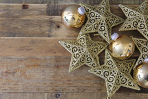 Christmas ornaments on a wood floor