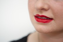 lips in red lipstick