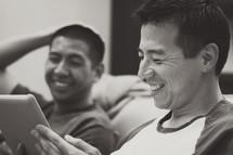 men in conversation