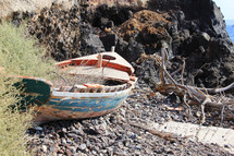 Old fishing boat on the shore.