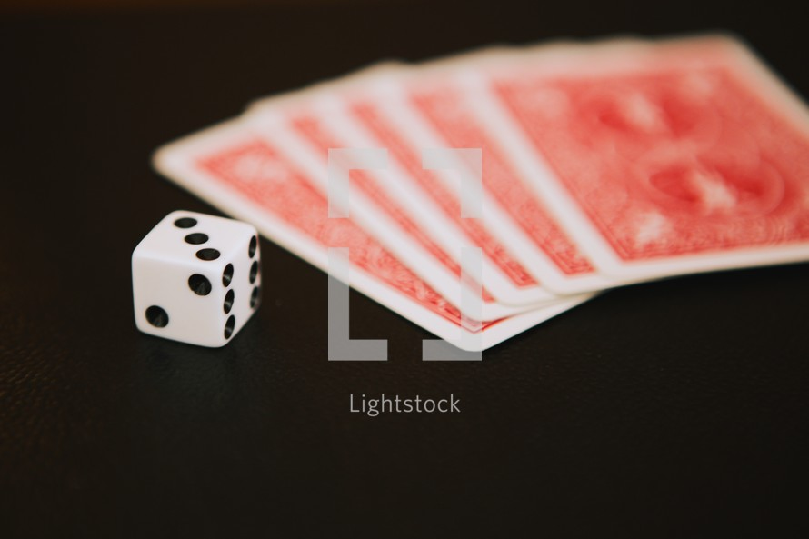 dice and playing cards
