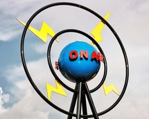 """On air"" metal sculpture."