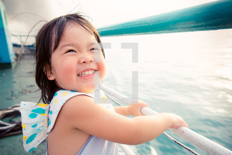happy child on a boat