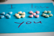 i love you, and conversation hearts