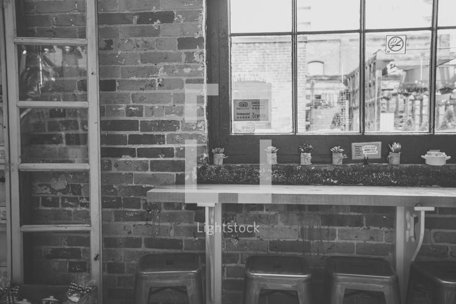 stools and bar at a cafe