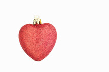 red glitter heart ornament