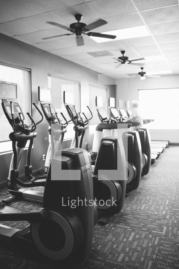 Elliptical machines in a gym