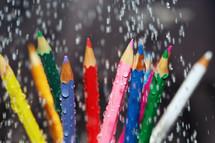 wet colored pencils