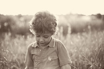 toddler in a field