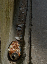 rusted can in a gutter