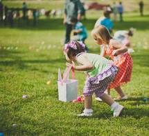 girls at an Easter Egg Hunt