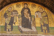 Orthodox mosaic of Mary and Jesus