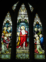 stained glass windows of Jesus and the disciples