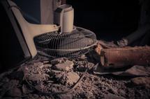 fan in rubble