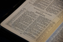 Open Bible in the book of Hebrews