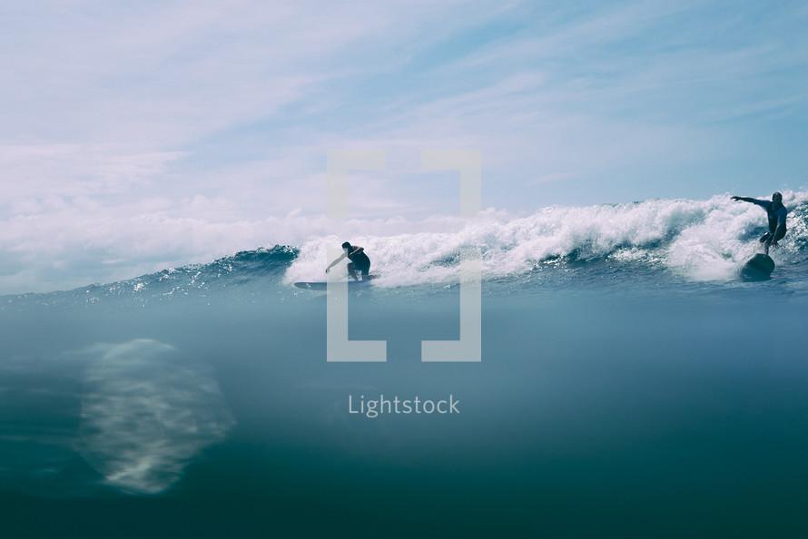 surfers in the ocean