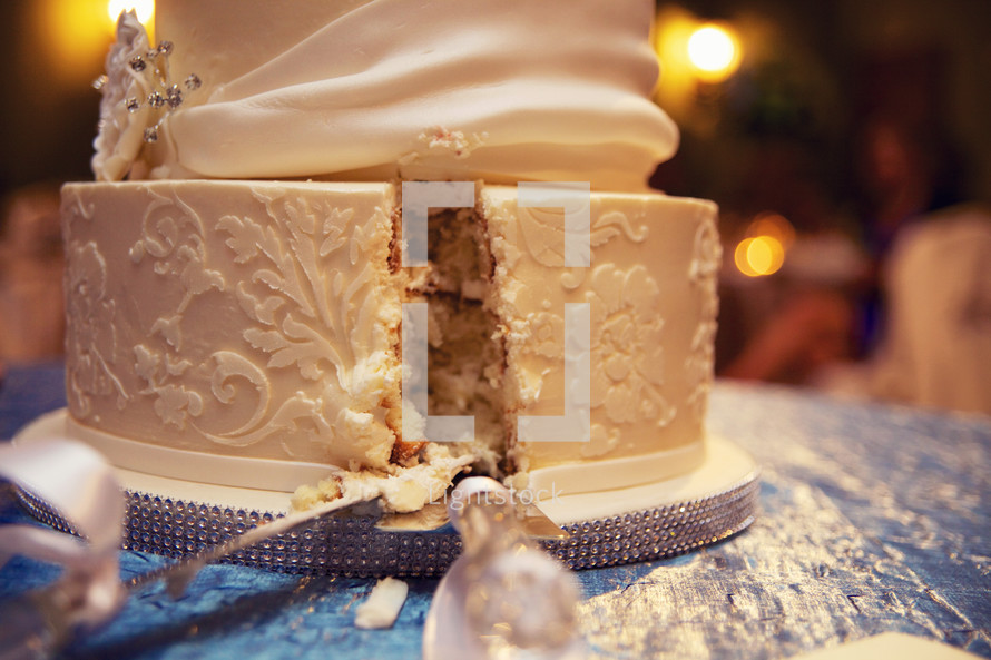 slice out of a wedding cake