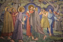 Painting depicting Jesus and His disciples in the garden of Gethsemane when he was betrayed by Judas